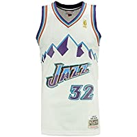 Mitchell & Ness Utah Jazz Karl Malone Camiseta de Manga Corta, Color Blanco, XL
