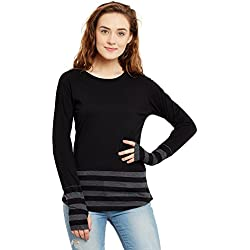 Hypernation Black and Grey Stripe Round Neck Thumb Insert Cotton T-shirt For Women