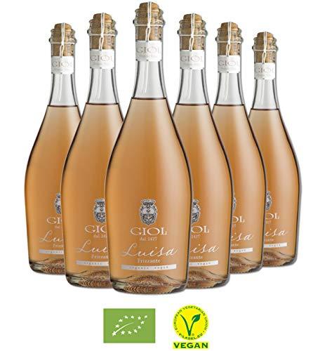 Vino rosato frizzante merlot luisa 2018 igt - giol - conf. 6 bottiglie - vegano - biologico - organico - cl. 75