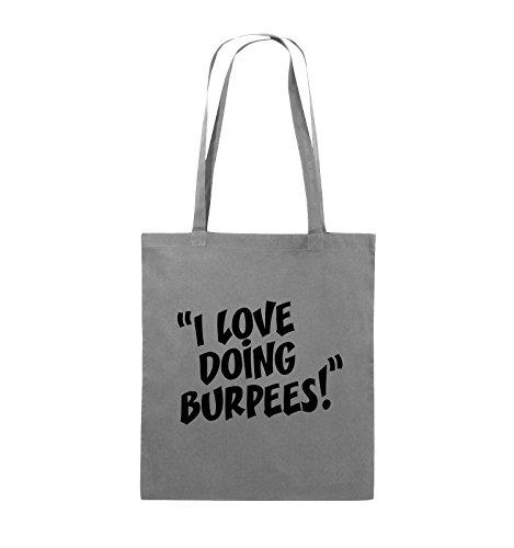 Comedy Bags - I LOVE DOING BURPEES! - Jutebeutel - lange Henkel - 38x42cm - Farbe: Schwarz / Silber Dunkelgrau / Schwarz