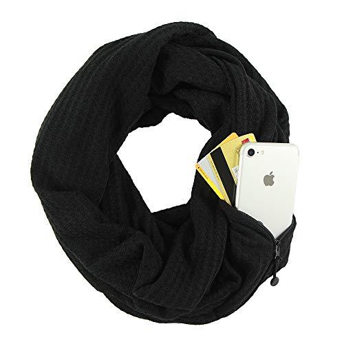 CADITEX Travel Scarf, Infinity Scarf con Secret Hidden Zipper Pocket (Negro engrosado)