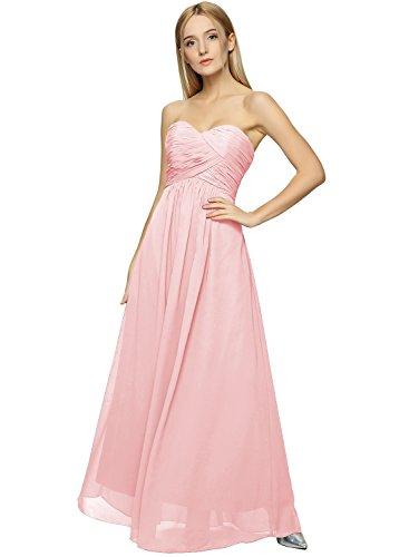 Azbro Women's Strapless Maxi Evening Prom Bridesmaid Chiffon Dress Nude Pink