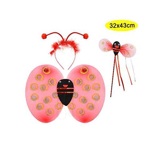 Schwan 2013, S.L. Pack Flügel, Antennen und Stab für Marienkäfer Kostüm für Mädchen oder Jungen Ab 2 Jahren Maße: 32 x 43 cm. Design Marienkäfer rot