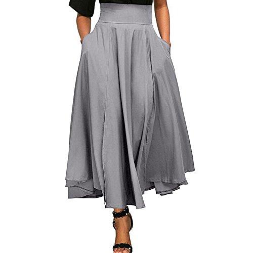 Mädchen Kellerfalte Rock (Röcke Damen, ZIYOU Casual Strand Röcke / Mädchen Basic Einfarbig Lange Rock Herbst Sommer (Grau, M))