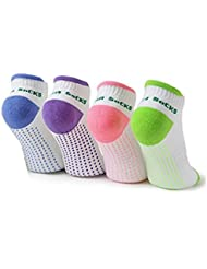 Lenhart - Calcetines de algodón con puntos de silicona antideslinzante, para mujer, para yoga o invierno, 4pares, Color A