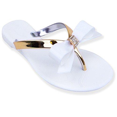 Flat wedding sandals amazon new womens ladies girls jelly sandals shoes flat beach summer flip flops size uk 6 white junglespirit Gallery