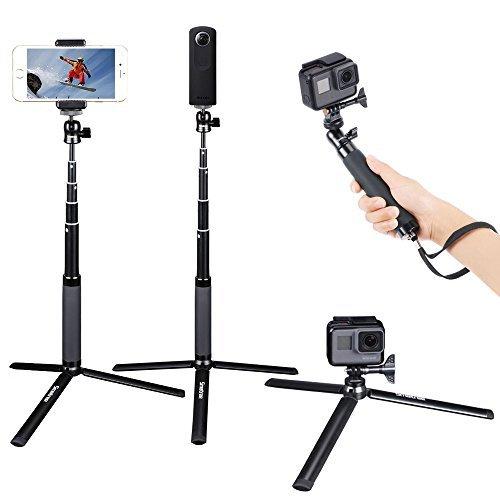 Smatree SQ2 Palo Selfie Extendable Stick / Monopod con Trípode para GoPro Hero 2018, Hero 6/5/4/3+/3/2/1/Fusion/Session/ Ricoh Theta S/V, M15 Cámaras, Cámaras Compactas y Teléfonos Celulares