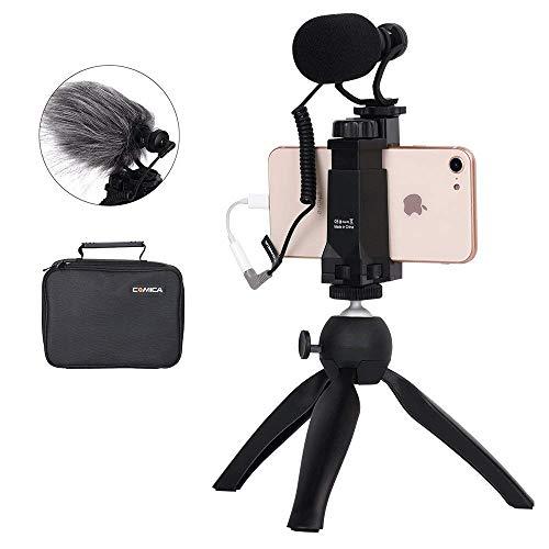 Comica Smartphone Video Kit CVM-VM10-K2 Filmemacher Mini Stativ mit Shotgun Video Mikrofon Video Rig für iPhone X 8Plus 8 7Plus 7 Samsung Huawei etc.