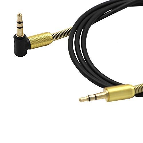 Audiokabel 3,5 mm Klinke Ellenbogen Stecker auf Stecker Stereo Kopfhörer Auto Audio Verlängerungskabel (Schwarz)