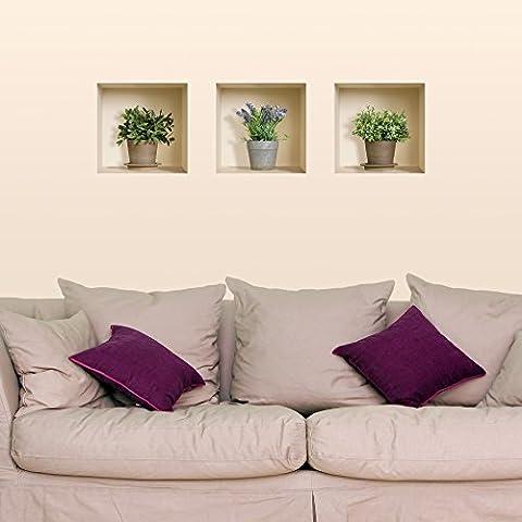 The Nisha Art Magic 3D Vinyl Removable Wall Sticker Decals DIY, Set of 3, Green Lavender Plants 298