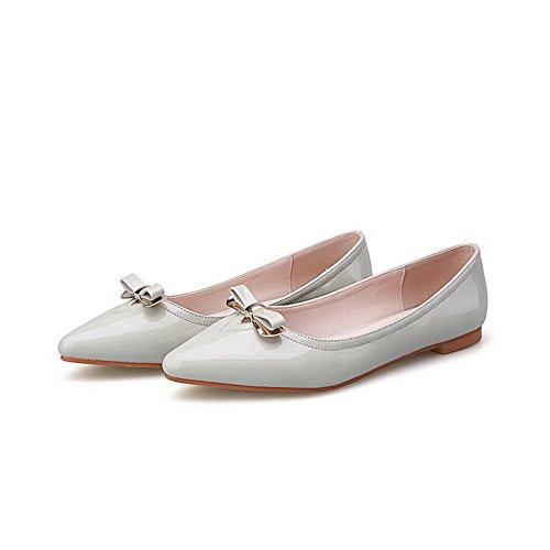 AalarDom Damen Spitz Zehe Ziehen Auf Ohne Absatz Weiches Material Flache Schuhe Grau