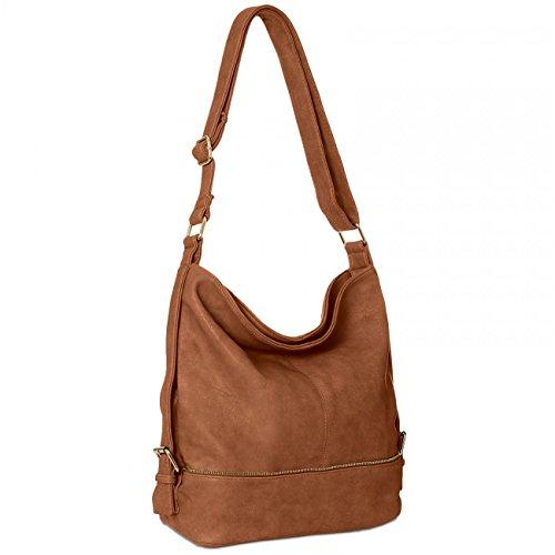 CASPAR TS732 große Damen Umhänge Tasche, Farbe:cognac