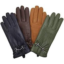 """YISEVEN Guantes suaves de piel de cordero de cuero para mujer 100% pura guarnición térmica mantener caliente para conducir traje de trabajo de la motocicleta para todos los días Bistro Verde 7.0""""/M"""