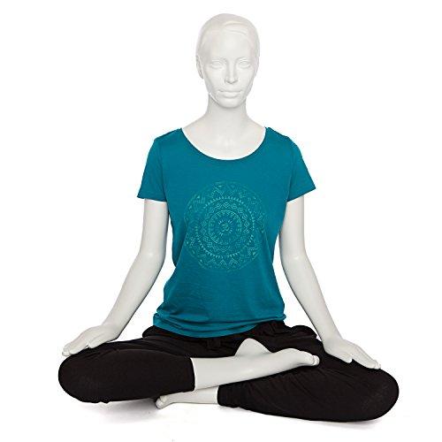 Bodhi Yoga Shirt Damen ETHNO-MANDALA, petrol, 100% Bio-Baumwolle, Kurzarm T-Shirt mit Print -
