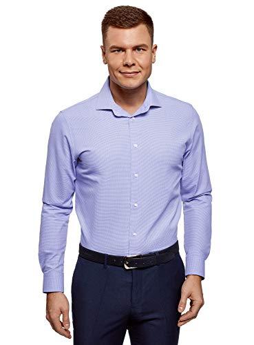 Oodji ultra uomo camicia basic con maniche lunghe, blu, 39cm / it 44 / eu 39 / s