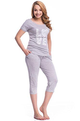 Dn-Nightwear PW.7031 Unique Pyjama Tres Attrayant Gris