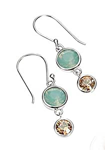 Pacific Opal and Golden Shadow Swarovski Crystal Double Drop Earrings by Elements Silver