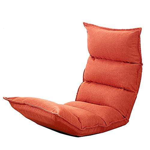 Lazy Sofa Chaise Lounge Boden/Bett Klappstuhl Komfortable Kissen Einzelne Einstellbare Balkon Wohnzimmer Boden Stuhl 8 Farben (Color : Orange) (Chaise Lounge-sofa-bett)
