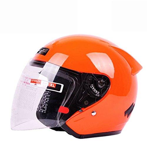 ZPXLGW Motorradhelm Warm Winddicht Elektroauto Autobatterie Helm Halbhelm Winter Helm Männer Und Frauen,Orange-XL