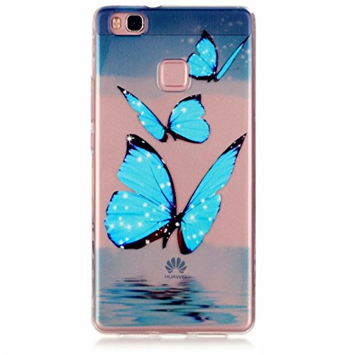 MUTOUREN Huawei P9 Lite case cover flexible soft extream thin Durable Creative Multi Colored Pattern Design Full coverage pattern images-Starry sky three glittering buterflies river dreaming sky
