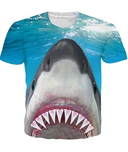 Maglietta tonda da uomo modello squalo maglietta estiva maglietta top uomo ragazzi