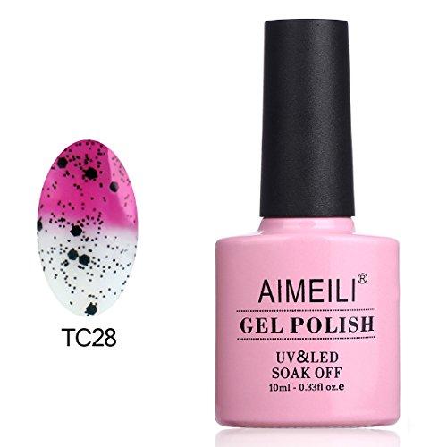 Aimeili smalto semipermente per unghie in gel uv led smalti per unghie colori per manicure che cambia colore con la temperatura - magenta a trasparente con glitter nero (tc28) 10ml