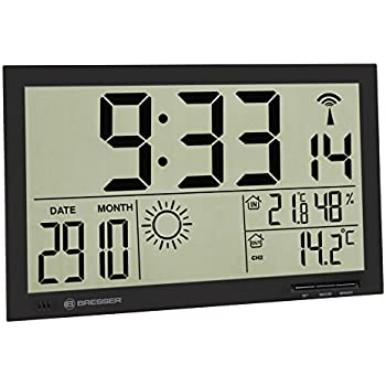 bresser wetter wanduhr mit wetterstation mytime jumbo lcd schwarz garten. Black Bedroom Furniture Sets. Home Design Ideas