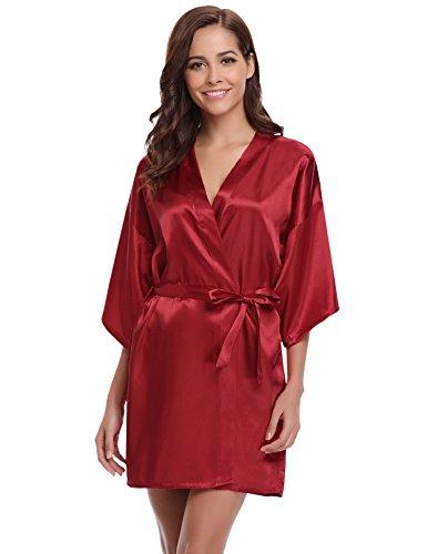 Kimono Satin-gürtel (Aibrou Damen Morgenmantel glatte Satin Nachtwäsche angenehmer Bademantel Kimono Negligee Seidenrobe locker weicher Schlafanzug Glanz Look kurz (S, Weinrot))