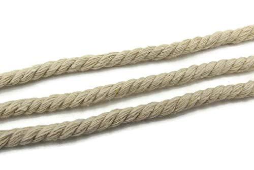 SiAura Material ® - 10m Schnur Baumwolle, Geflochten, Grauweiß (Naturfarben), 8mm - Weiße Leinen-band