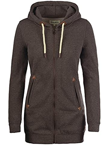DESIRES Liki Straight-Zip - Sweat à capuche zippé - Femme, taille:S;couleur:Coffee Bean Melange (8973)