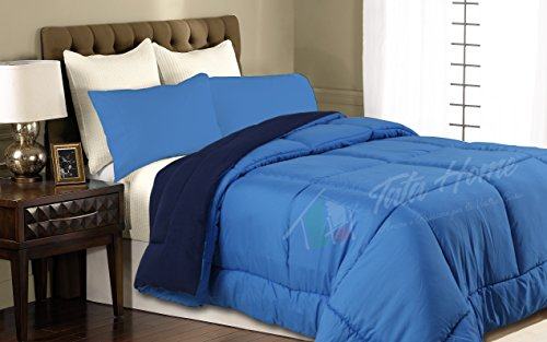 Tata home piumone trapunta invernale bicolore double face da 350 gr/mq misura 1 piazza letto singolo 180x260 cm colore blu azzurro