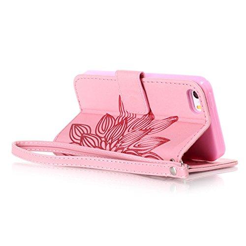 MOONCASE iPhone 5 Coque, Bling Crystal Diamond Gaufrage Motif Portefeuille Housse en PU Cuir Étui de Protection Case pour iPhone 5 / 5S / 5E (Campanule Violet) Fleur Rose