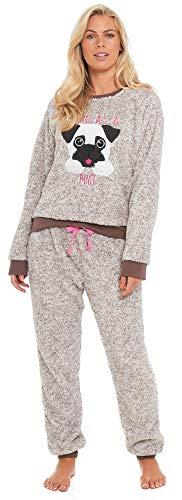 (Slumber Hut® Mops Hund Lama Fleece Pyjamas Neuheit Loungewear Twosie PJs Passende Familie - Braun Pug Hund - EUR 36-38)