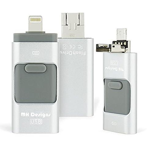 3 en 1 USB Flash Drive, MH Designs 32 Go HD Clés USB Memory Stick avec Lightning connecteur Micro USB pour iPhone / iPad / iPod et Android Cell Phone avec OTG et PC & Mac USB 2.0 connecteur.[Silver]