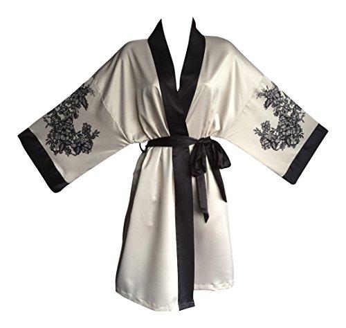 Ex M&S Rosie Kimono Unterkleid Nachtkleid Unterwäsche Nachthemd in Creme und Rot (38 eur, Creme / Schwarz) (Satin-robe Gesteppte)