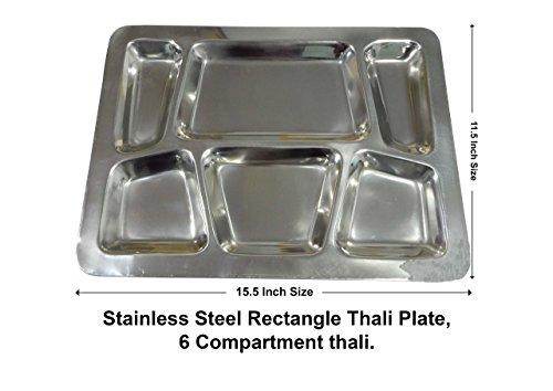 Table de salle à manger Rectangle en acier inoxydable 6 Plateau Thali, 15,5 X 11,5 pouces (argent), jour de Pâques / fête des mères / cadeau du Vendredi saint