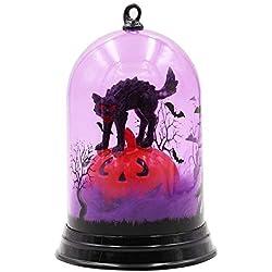 Lampara del Mesa para Adorno Fiesta del Halloween, Luces decorativas de Halloween,Luz Intermitente mesilla de noche,Iluminación de Noche para ambiente (Gato)