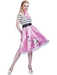 EraSpooky Women's Pink Poodle 1950s Bopper Dress Costume