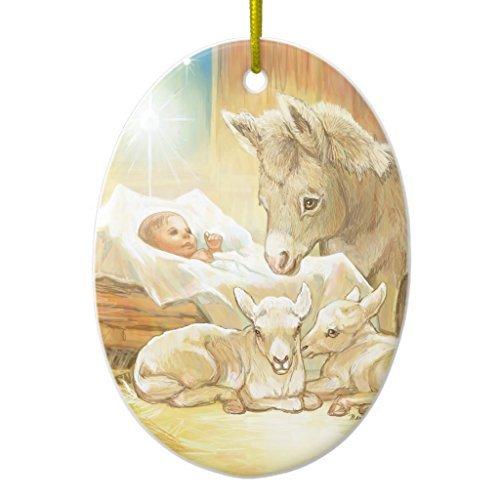 Weihnachtsbaum Dekorationen Baby Jesus Krippe mit Lambs und Esel Keramik Ornament, oval Weihnachten Ornament Handwerk XMAS Geschenk
