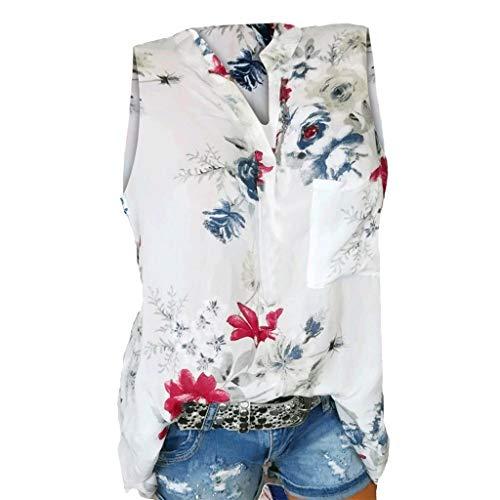 Momoxi Damen Sommer Plus Size Loose Print V-Ausschnitt ärmellose Bluse Pullover Casual Tank Lady-fit Tops Shirt Sleeveless am Strand Weiß 5XL -