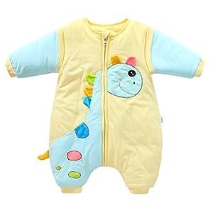 Happy Cherry Saco de Dormir con Pies Saco Manta con Mangas Desmontables para Bebés Unisex Patrón de Girafa – Color Amarillo