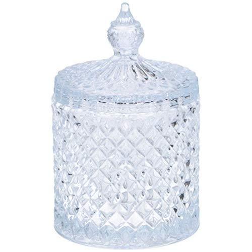 Glas Süßigkeitengläser mit Deckel Kuppelform Zuckerdose Kristalleffekt Glas Süßigkeitengläser für Hochzeit Süßigkeiten Buffet, Large:19.5x10.5cm