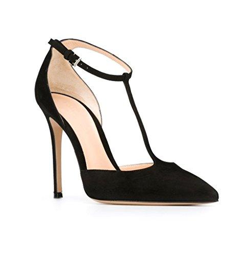 EDEFS Damen T-Spangen Pumps Stiletto Heel Mary Jane Knöchelriemchen Schuhe mit Schnalle Black