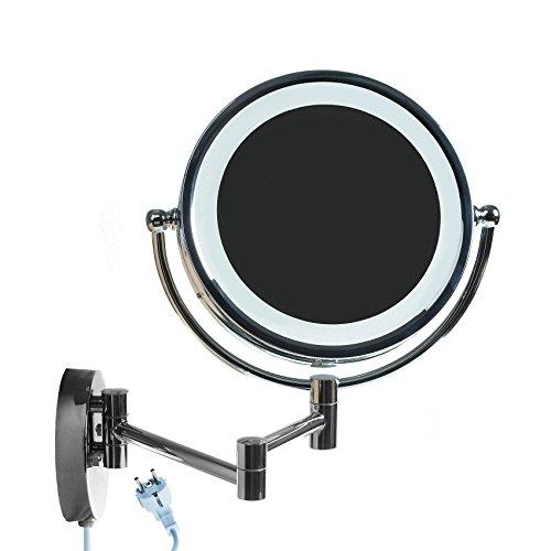 HIMRY LED Cosmética Espejo 8,5 Pulgadas 5X Aumentos, con o Sin Perforación, Maquillar Espejo de Pared...