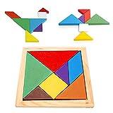 Auveach Tangram Gioco da Tavolo Legno Puzzle Bambino Arcobaleno Giocattoli educativi Fai da Te