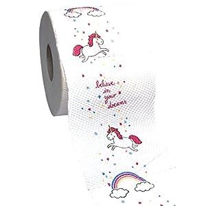 Toilettenpapier / Klopapier mit Motivdruck EINHORN (3-lagig / 150 Blatt – 1 Rolle) MIT ZUCKERWATTE DUFT