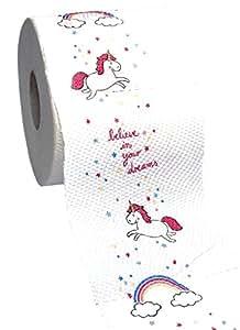 Toilettenpapier / Klopapier mit Motivdruck EINHORN (3-lagig / 150 Blatt - 1 Rolle) MIT ZUCKERWATTE DUFT