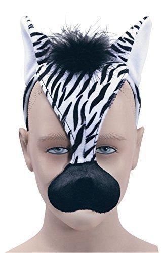 n Mädchen Jungen Animal Halloween Buch Kostüm Gesichtsmaske mit Ton Kostüm Outfit Zubehör - Zebra ()