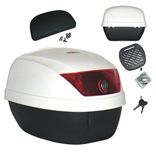 Motorrad Roller Top Case 28 Lt Universal Befestigungsplatte Rückenlehne weiß
