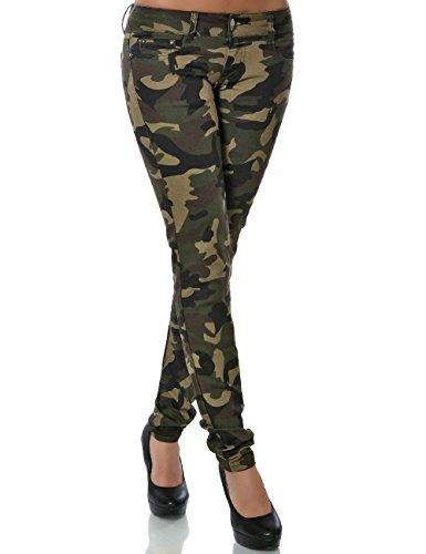 Daleus Damen Camouflage Hose Skinny DA 13980 Röhre Stretch Große Größen Stoffhose Übergröße, Farbe:Mehrfarbig, Größe:XXL / 44